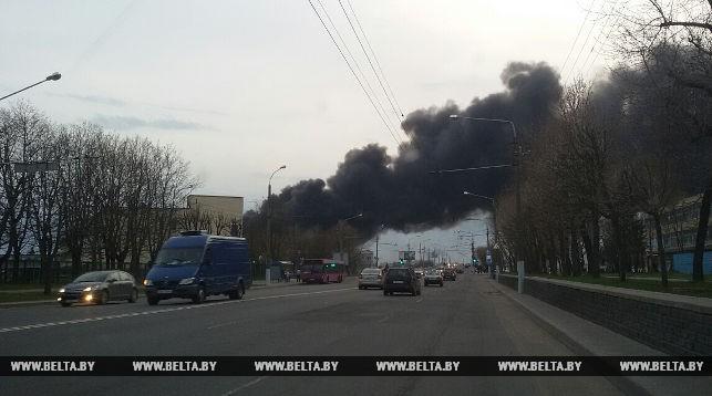 В Могилеве горит промышленный объект