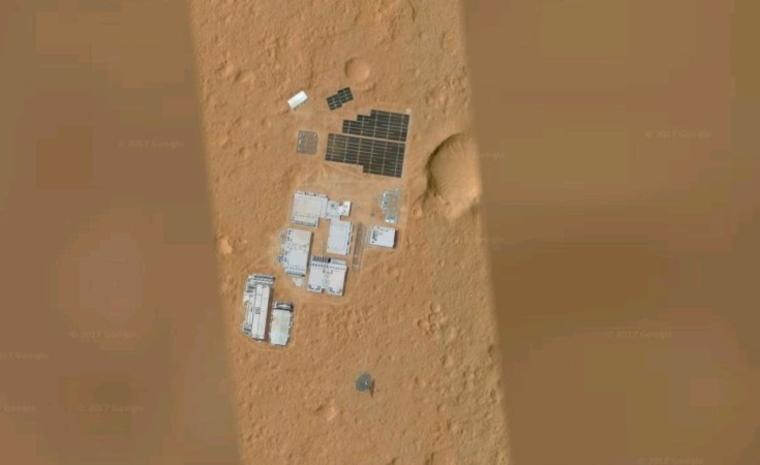 Google Space обнаружил базу инопланетян на Марсе. ФОТО